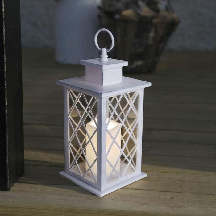 jaipur lanterne d 39 ext rieur m tal blanc bougie led t l commande h30cm luminaire d 39 ext rieur. Black Bedroom Furniture Sets. Home Design Ideas