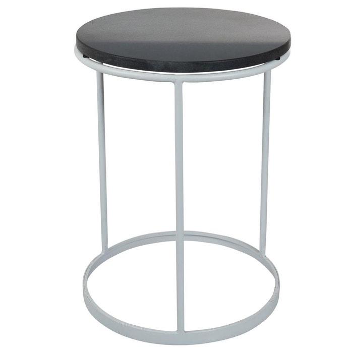 Table d 39 appoint marbre blanc et m tal noir creek blanc inwood la redoute - Table d appoint marbre ...