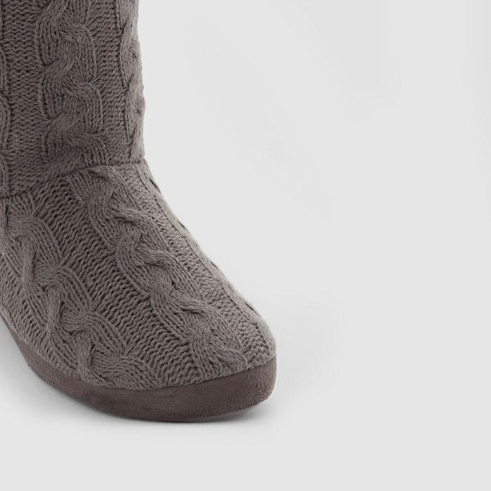 Chaussons en tricot gris La Redoute Collections