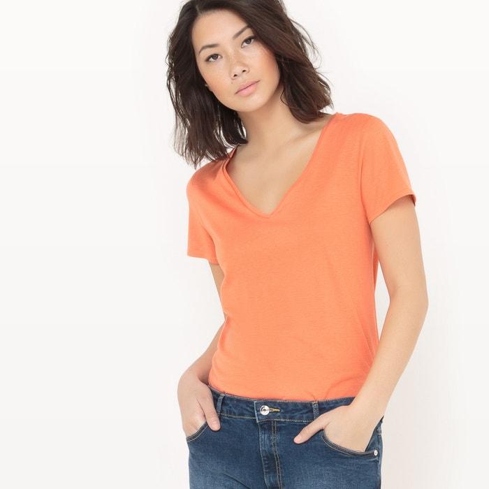 Imagen de Camiseta cuello de pico, algodón / modal La Redoute Collections