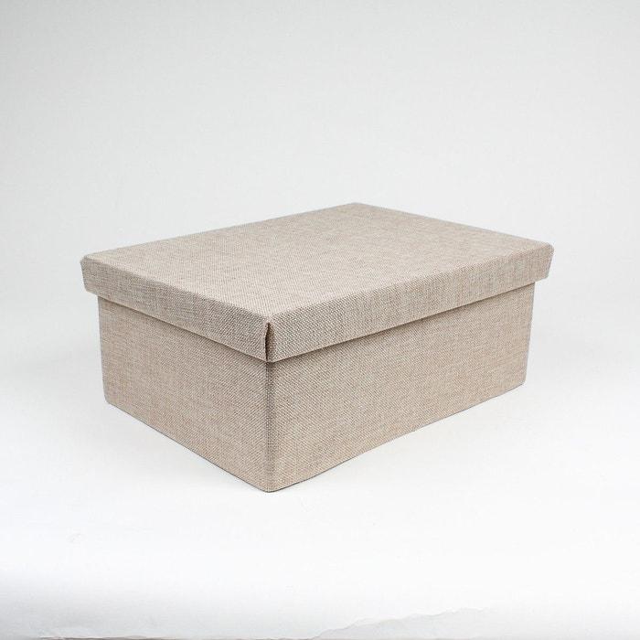 Boîte de rangement polyester petit modèle beige lin Casame   La Redoute 59f96babfac6