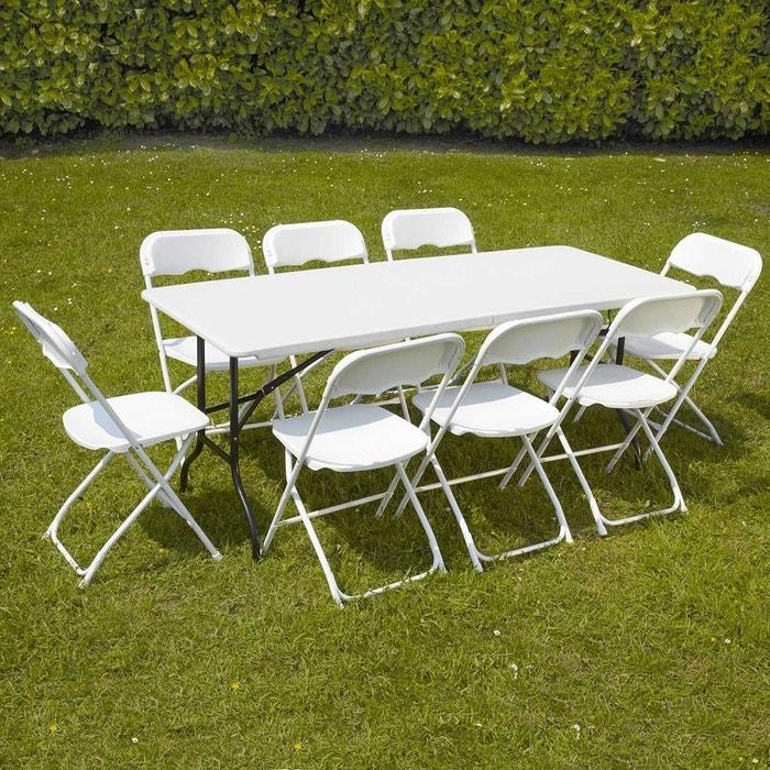 Réception Buffet Pliantes 180cm 8 Table Traiteur Et De Camping Places Blanc Ensemble Jardin Chaises CtQhdsr