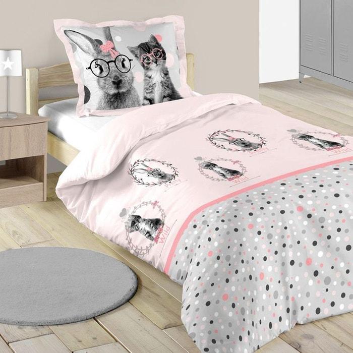 parure de lit imprim e pois et animaux rose home maison la redoute. Black Bedroom Furniture Sets. Home Design Ideas
