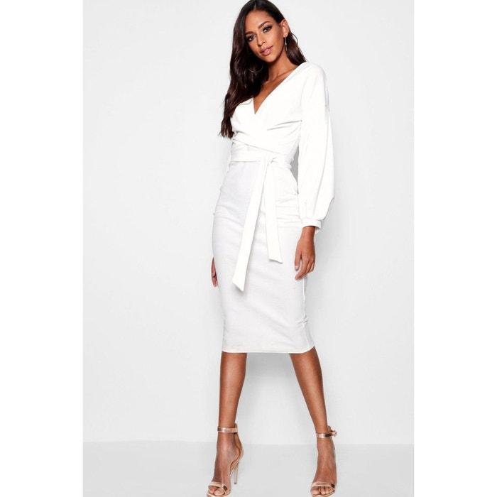 best cheap footwear wholesale online Robe Mi-Longue Droite Col V, Manches Longues