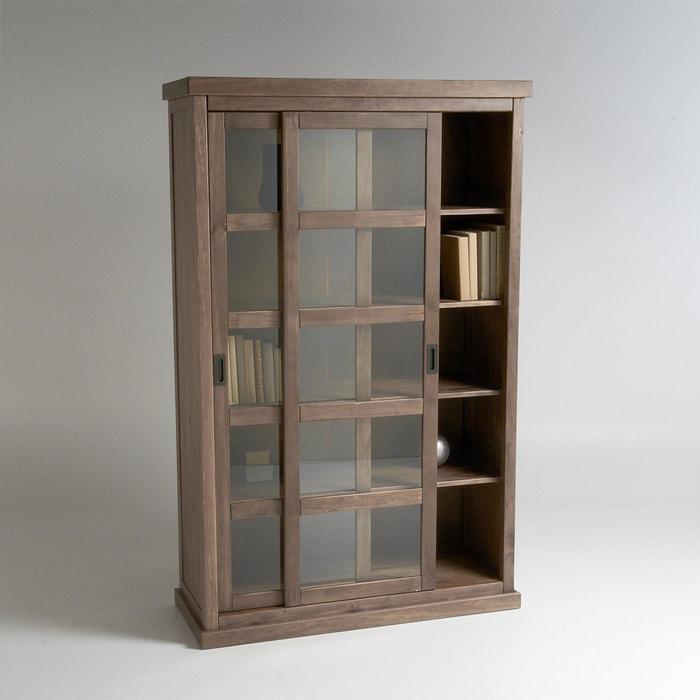 biblioth que 2 portes coulissantes lunja bois clair naturel la redoute interieurs la redoute. Black Bedroom Furniture Sets. Home Design Ideas