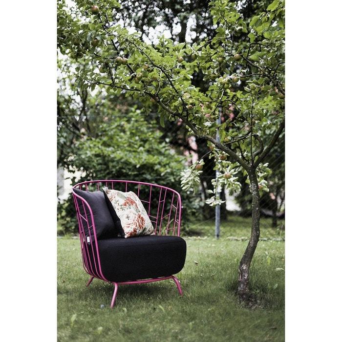 Fauteuil romantique de jardin maj en acier magenta et tissu noir ...
