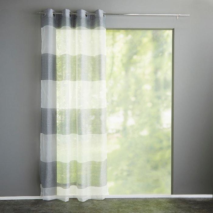 voilage rayures tiss es oeillets justor gris la redoute interieurs la redoute. Black Bedroom Furniture Sets. Home Design Ideas