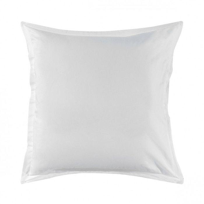 taie d 39 oreiller unie en satin de coton blanc blanc essix la redoute. Black Bedroom Furniture Sets. Home Design Ideas
