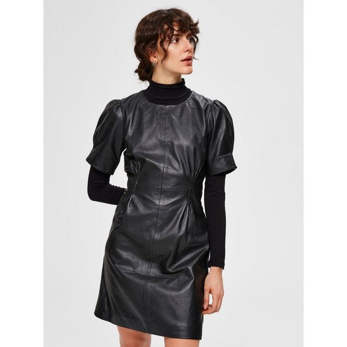 Mini Robe Cuir Noir Black Selected Femme La Redoute