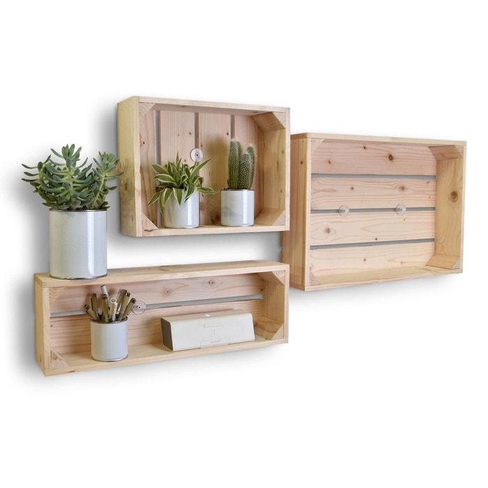 lot de 3 tag res en bois profondeur 10 cm beige clair. Black Bedroom Furniture Sets. Home Design Ideas