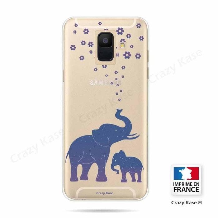 Coque pour Samsung Galaxy A6 (2018) souple motif Eléphant Bleu