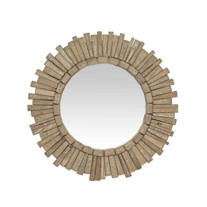 Miroir rond en bois naturel 45cm marron clair emde premium for Miroir emde deco