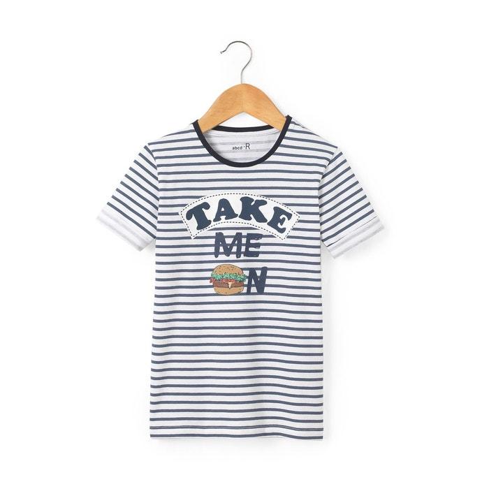 T-shirt rayé et imprimé 3-12 ans