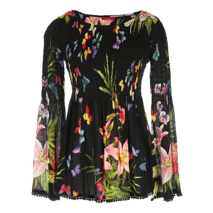 Blusa con cuello redondo, estampado floral, manga larga  RENE DERHY image 0