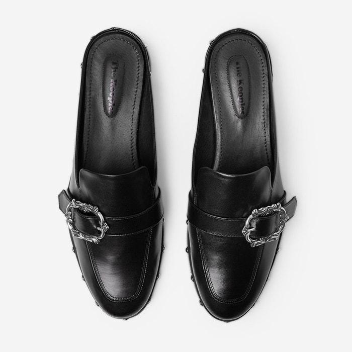 Mules à boucle cuir noir The Kooples