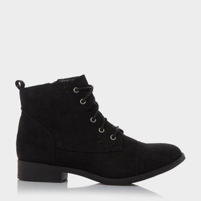 Toecap detail lace up ankle boot - paola  noir micro fibre Head Over Heels By Dune  La Redoute
