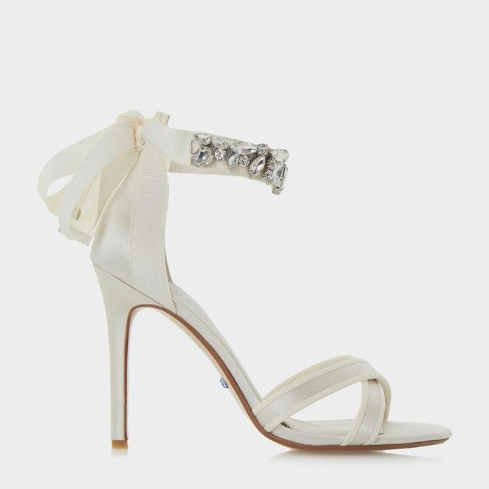 Sandales à talons hauts et brides de cheville ornées de bijoux - morgen  ivoire satin Dune London  La Redoute