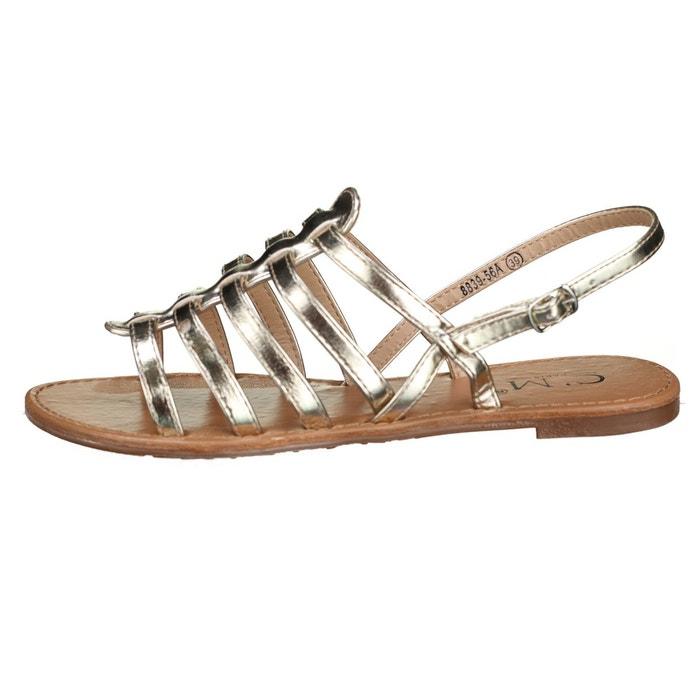 Sandales à lanières jaune Leader Mode