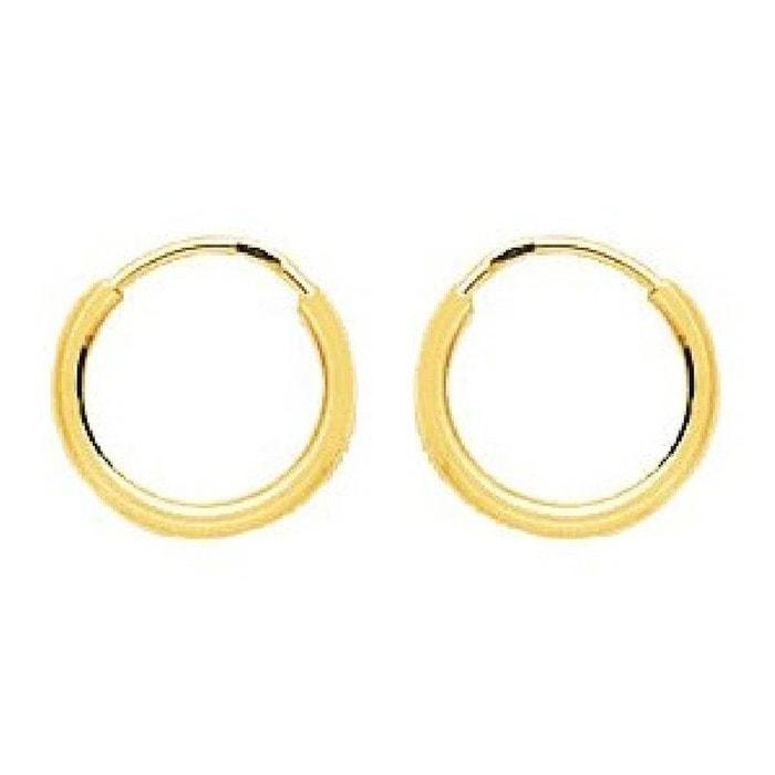 Boucles d'oreilles femme créoles diamètre 10 mm fil rond 1,2 mm or jaune 750/000 (18 carats) couleur unique So Chic Bijoux | La Redoute