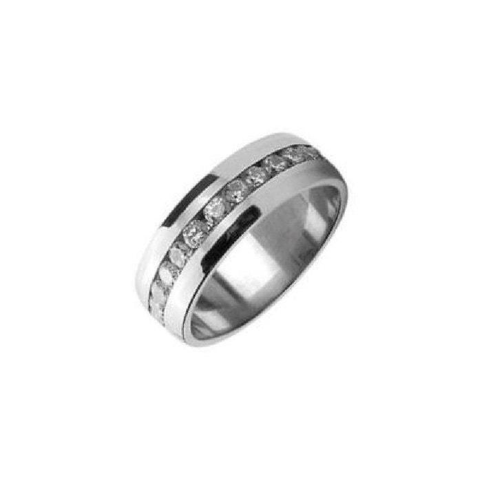 Bague anneau alliance oxyde de zirconium blanc acier inoxydable couleur unique So Chic Bijoux | La Redoute Acheter En Ligne Y2YmO