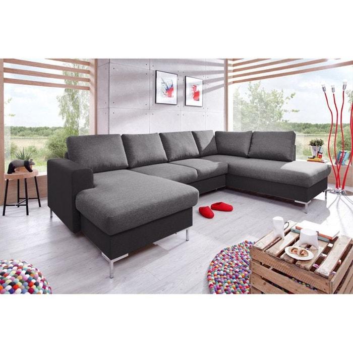 Canapé panoramique fixe lilly gris fonce noir angle gauche tissu