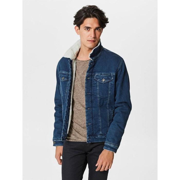 Blouson sherpa en jeans selected teddy bleu Selected Homme   La Redoute 83b45b334b9c