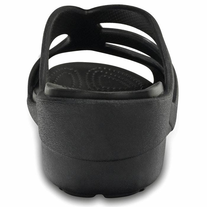 Mules compensées sanrah strappy wedge noir Crocs
