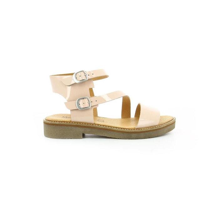 Sandales cuir vernis femme eureka vernis beige Kickers
