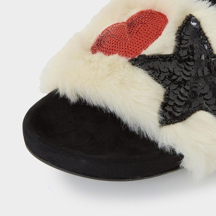 Sandales en fausse fourrure à sequins - lorii naturel fausse fourrure Dune London