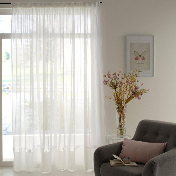 voilage base tiss e galon fronceur sylva blanc la redoute. Black Bedroom Furniture Sets. Home Design Ideas