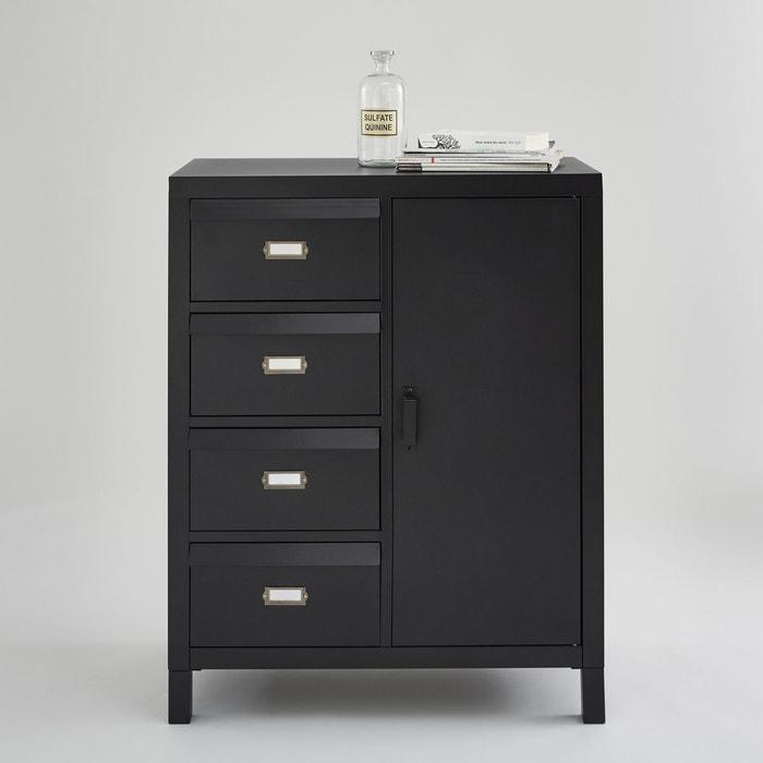 Buffet 1 porte et 4 tiroirs clapets acier hiba noir la - Solde la redoute meuble ...
