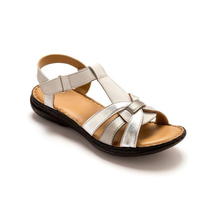 Sandales ultra légères, en cuir, à aérosemelle® blanc multicolore Pediconfort