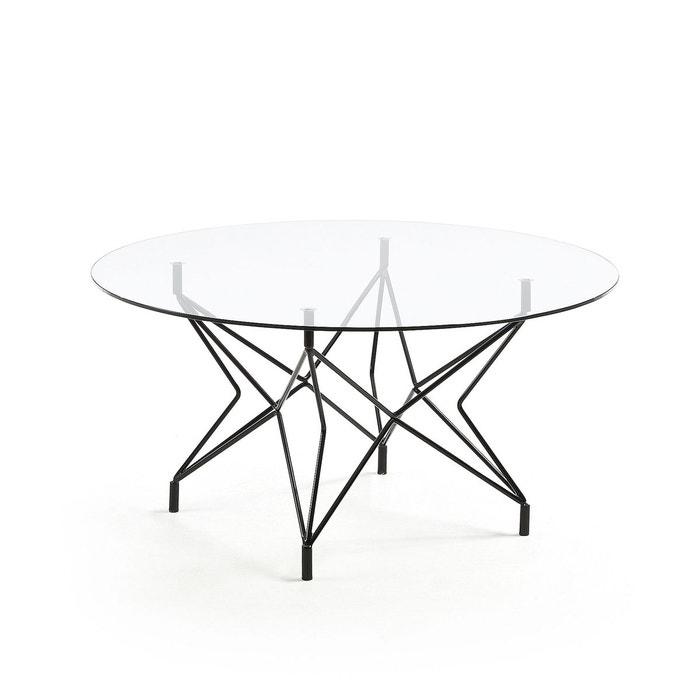 Table Basse Ronde Kovacs ø90 Cm Verre Et Pieds Métal Noir Negro