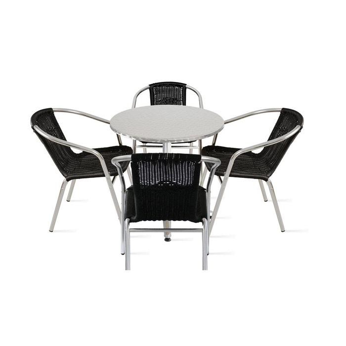 Table de jardin ronde et 4 fauteuils en aluminium et résine noir ...