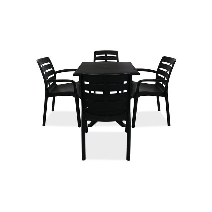 Table de jardin carrée en plastique et 4 fauteuils gris Oviala | La ...