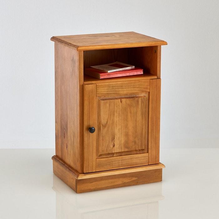 afbeelding Nachtkastje met 1 deuro, massief dennenhout, afgewerkt met een waslaagje, Authentic Style La Redoute Interieurs