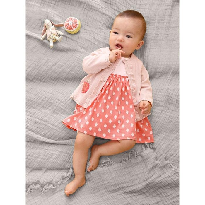 Robe fraises b b naissance rose clair imprim vertbaudet la redoute - Vetement mere fille identiques ...