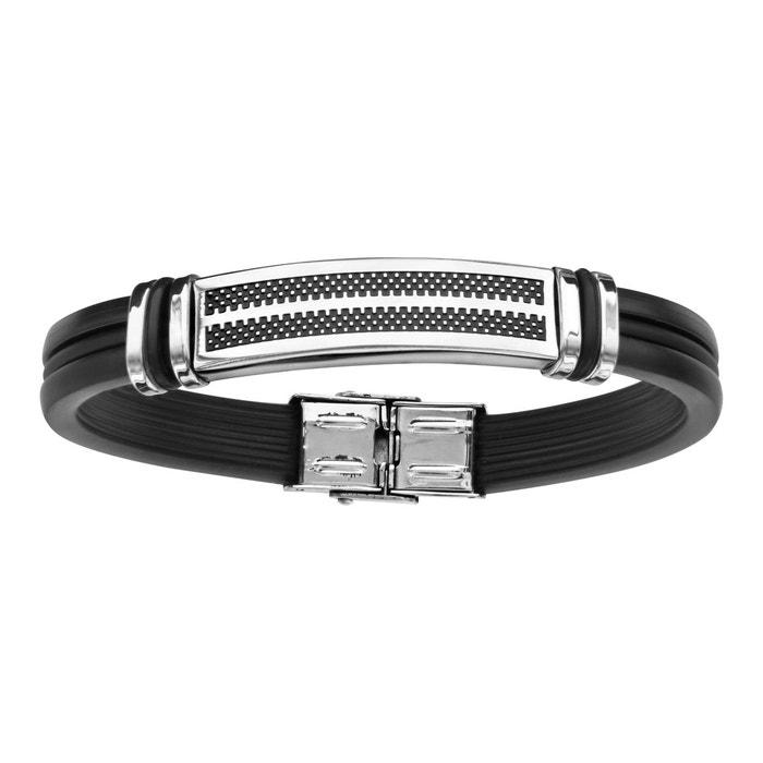 Bracelet 21,5 cm longueur réglable fantaisie caoutchouc acier inoxydable couleur unique So Chic Bijoux | La Redoute