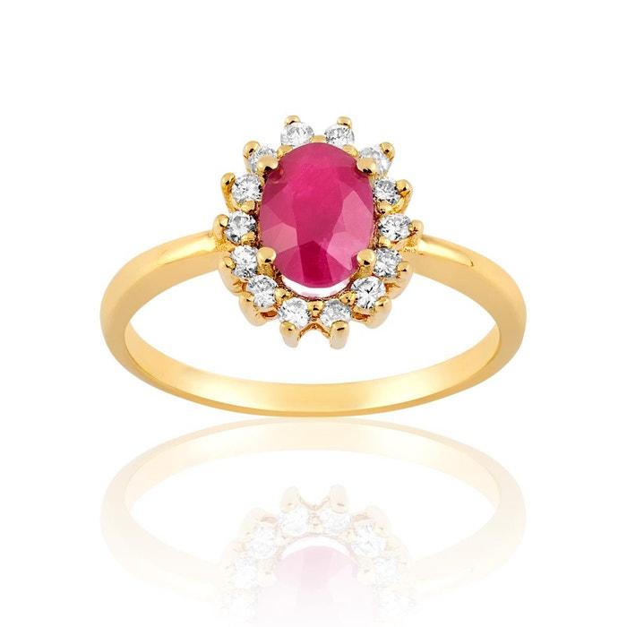 Bague en or 750/1000 jaune, rubis rouge et diamant rouge Cleor   La Redoute