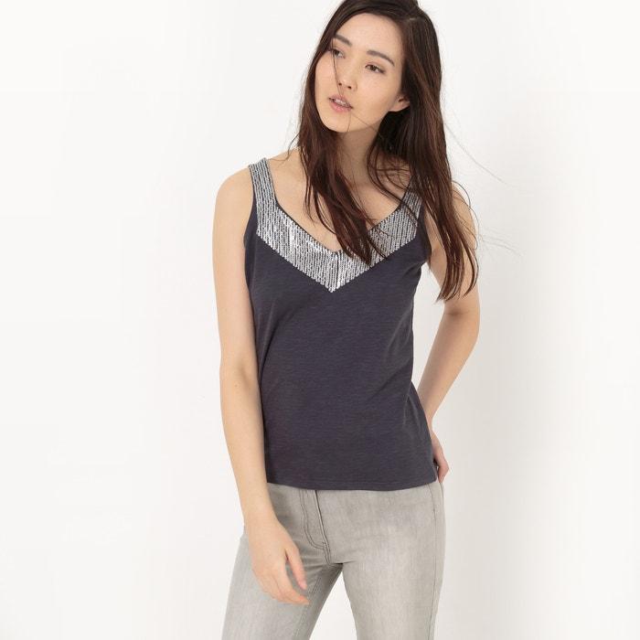 Camiseta sin mangas con plastrón con lentejuelas  La Redoute Collections image 0