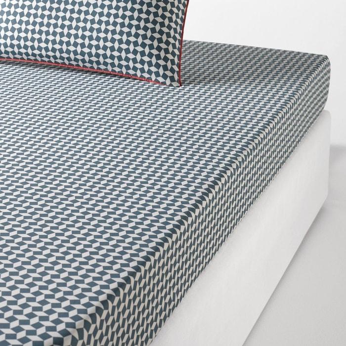 drap housse en percale de coton cravate vert la redoute interieurs la redoute. Black Bedroom Furniture Sets. Home Design Ideas