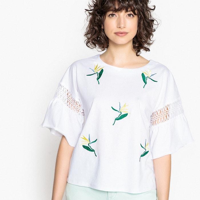 T-shirt ricamata, scollo rotondo, maniche larghe ai gomiti  La Redoute Collections image 0