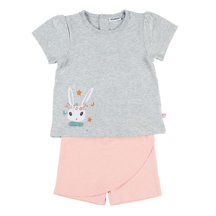 0ee7ea63790e0 Pyjama 2 pièces avec jupe short en jersey gris chiné Noukie s
