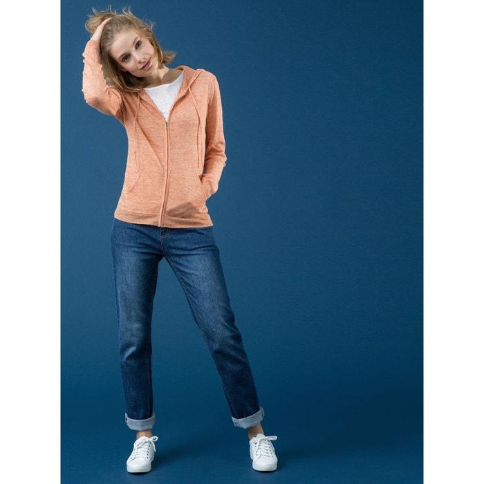 70001a44e47a9 Gilet femme pur lin chiné à capuche, larache orange chiné Somewhere ...