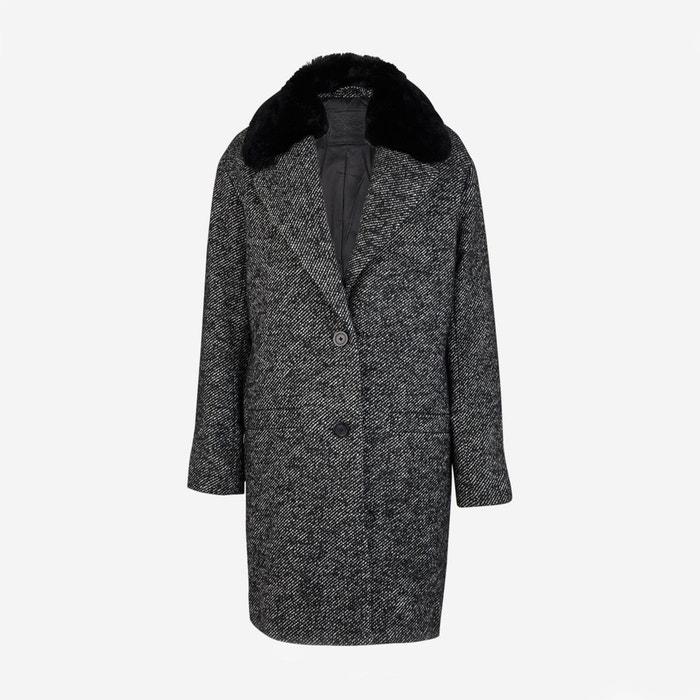 Manteau mi-long en laine mélangée mari coat gris anthracite écru ... c832685435a7