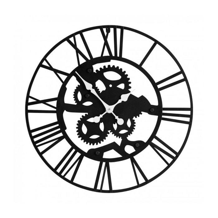 Grande Horloge Murale Ronde En Métal Noir Style Industriel Noir