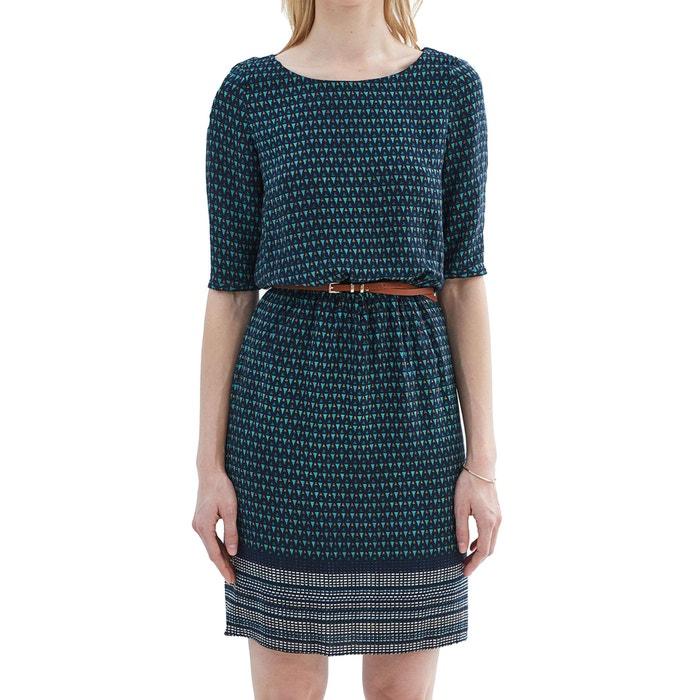 Printed Short-Sleeved Dress with Belt  ESPRIT image 0