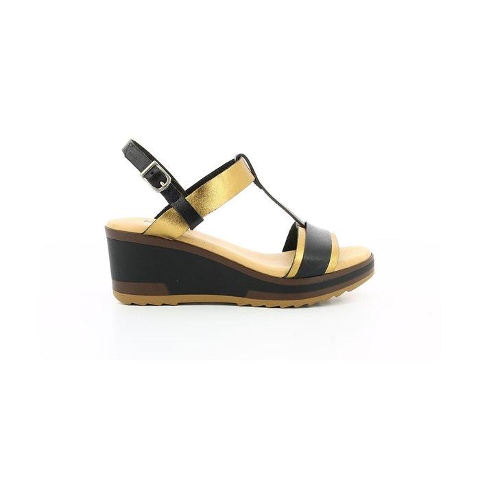 Sandale cuir femme winnie black/white print Kickers authentique Pas Cher Grand Escompte Acheter Pas Cher De La France 3UmQBb7ZxR