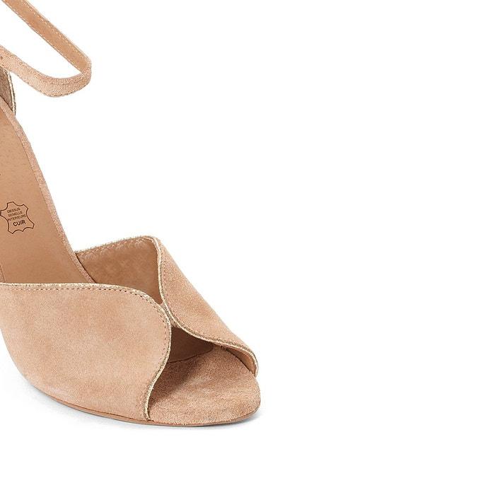 Sandales cuir talon haut détail métal beige Mademoiselle R