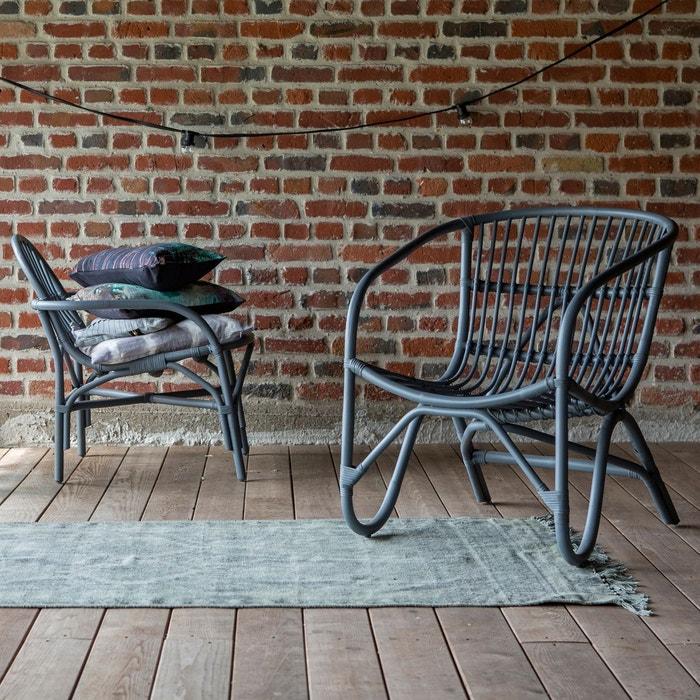 Assise chaise fauteuil rotin gris mobilier de salon s jour for Mobilier sejour complet